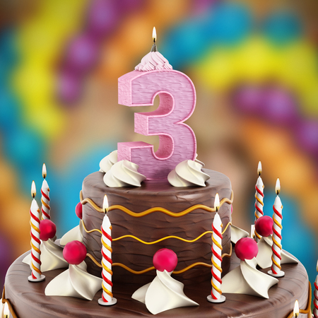 three layered: Birthday cake with number 3 lit candle.