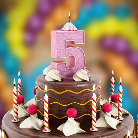5 years: Birthday cake with number 5 lit candle. Stock Photo