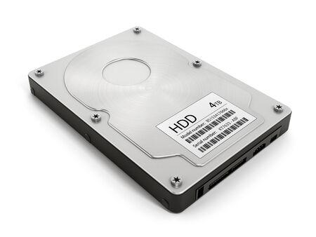 disco duro: Unidad de disco duro del ordenador aislado en el fondo blanco.