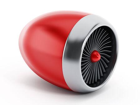 turbofan: Jet engine isolated on white background.