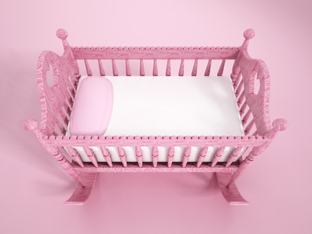 nursery room: Baby crib Stock Photo