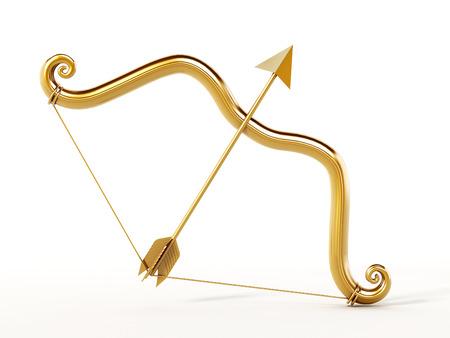 bow arrow: Arco de oro y flecha