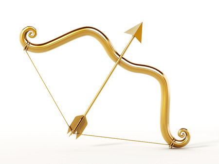 Golden bow and arrow Stock Photo