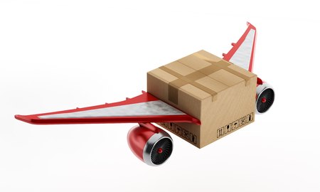 jet engine: Air mail concept with cardboard having wings and jet engines.