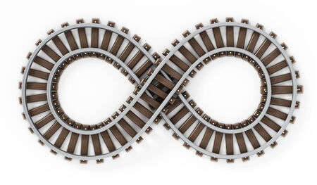 infinity road: Infinity symbol shaped railroad isolated on white background.