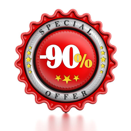 -90% Sale stamp isolated on white background. photo