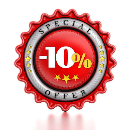 -10% Sale stamp isolated on white background. photo