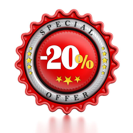 -20% Sale stamp isolated on white background. photo