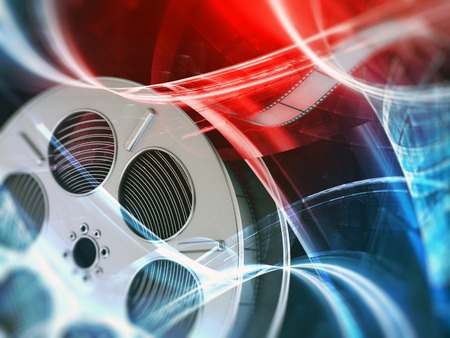 performing arts event: Film reel background Stock Photo
