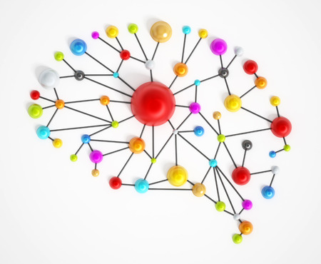 Brain network with colorful connected dots.
