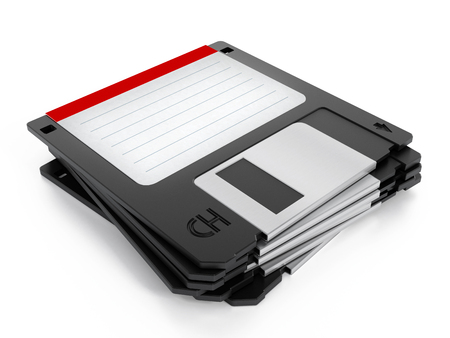 Floppy disk stack isolated on white background. Stock Photo