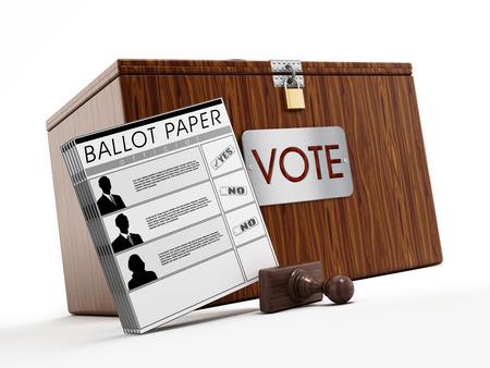designate: Ballot box, stamp and ballot paper on white background.