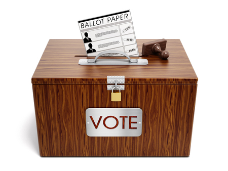 secrecy of voting: Ballot box, stamp and ballot paper on white background.