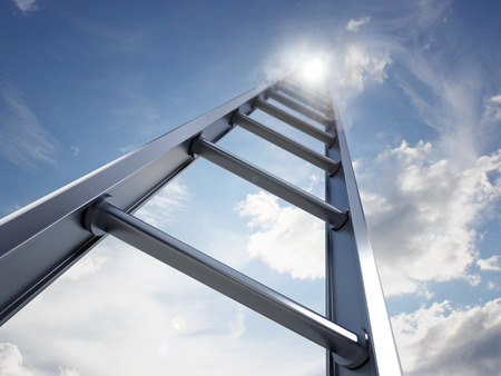 Ladder of success leading to the clouds.