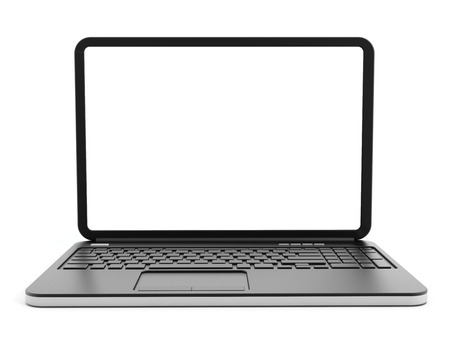 Laptop computer with blank screen Stock Photo