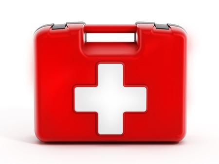 Erste-Hilfe-Kit auf weißem Hintergrund. Standard-Bild - 34557325