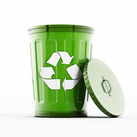 recycle bin: Papelera de reciclaje aisladas sobre fondo blanco.