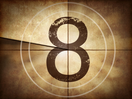 Old movie countdown number 8 Stock Photo