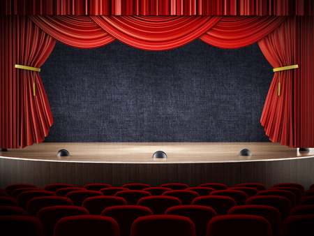 Movie theater with open curtains.
