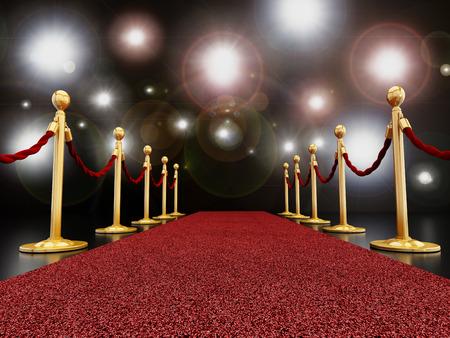 prosperidad: Alfombra roja en la noche con destellos concepto