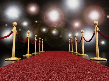 Red carpet at night with flashes concept Stock Photo - 34916519