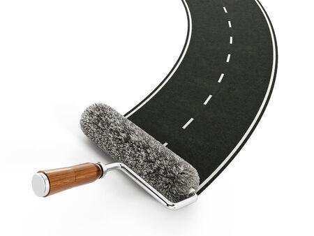 platen: Red roller brush forming a motorway.