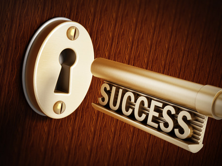 keyhole: Success key above the golden keyhole Stock Photo