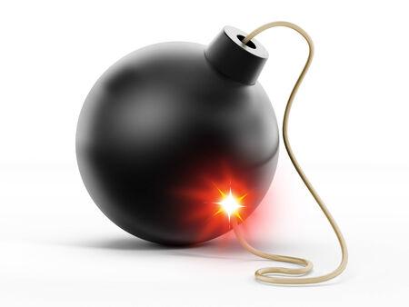 Bomb with burning fuse isolated on white background. Stock Photo