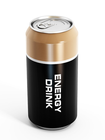 Energy drink can isolated on white background.