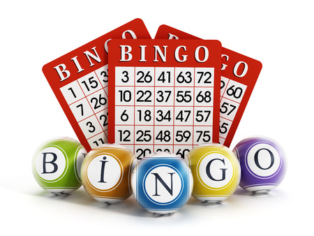 Bingo balls and cards isolated on white background. Banque d'images