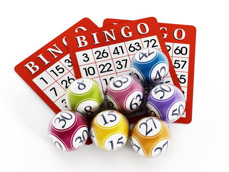 Bingo balls and cards isolated on white background. Stockfoto