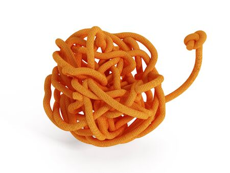 lashing: Orange knot isolated on white background