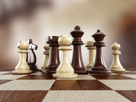 pieces: Chess board with wooden chess pieces isolated on white background Stock Photo