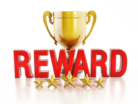 rewards: Reward text, gold cup and five stars