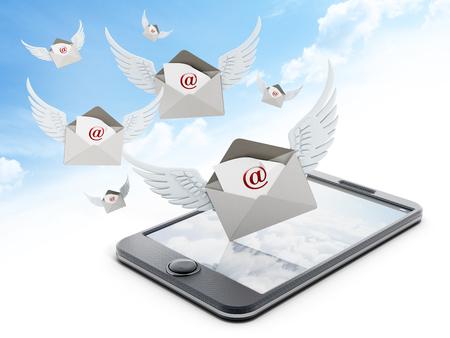 telegrama: Enveloppe mail con alas en el tel�fono inteligente contra el cielo Foto de archivo