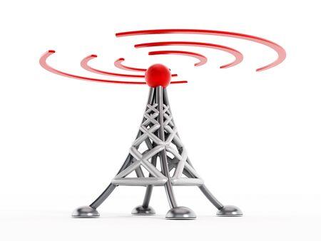 wireless communication: Wireless communication tower isolated on white background