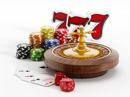 ruleta: Ruleta, dados, cartas de juego y tres sietes en el fondo blanco