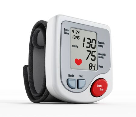hypertensive: Digital blood pressure monitor isolated on white background