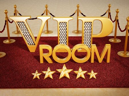 text room: VIP room text and five stars on red carpet