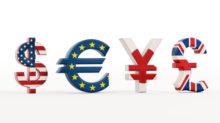 european union currency: Currency symbols with country flags