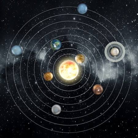 Solar system diagram in the space. Stock Photo