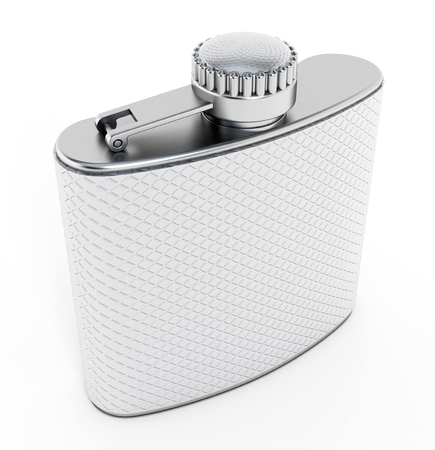 hip flask: Hip flask for alcohol isolated on white background
