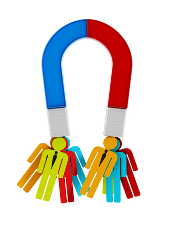 magnet: People magnet attracting multi-colored people shapes. Stock Photo