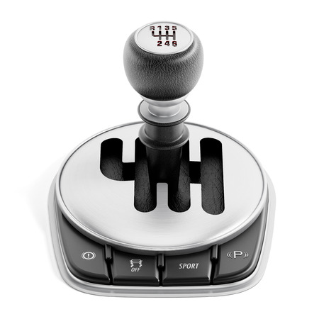 gearshift: Car gearbox isolated on white background