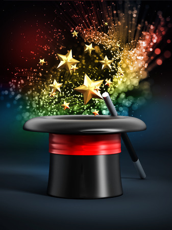 Magician hat with wand and sparkles shining at the dark