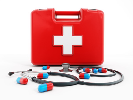first aid box: First aid kit, stethoscope and pills isolated on white background