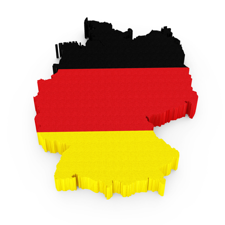 german flag: 3D Germany map with German flag isolated on white background Stock Photo