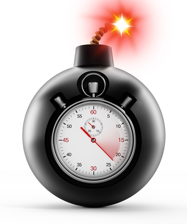 alertness: Chronometer on black bomb with a burning fuse Stock Photo
