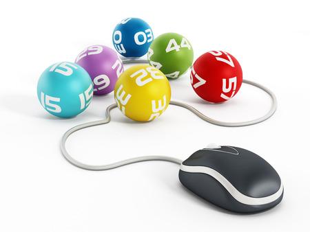loteria: Concepto de lotería por Internet con el ratón del ordenador conectado a bolas de la lotería