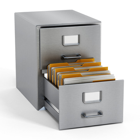 mass storage: Filing cabinet with a single yellow folder in an open drawer
